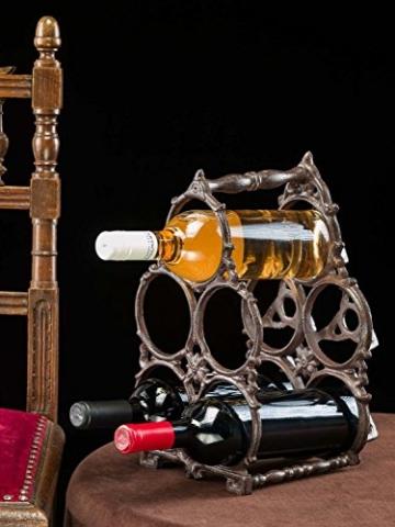 aubaho Flaschenregal Eisen Regal Ständer Halter Flasche Wein Weinregal Antik-Stil 34cm - 2