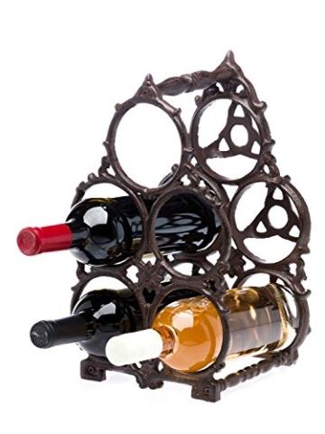 aubaho Flaschenregal Eisen Regal Ständer Halter Flasche Wein Weinregal Antik-Stil 34cm - 5