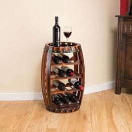 Christow Wooden Barrel Weinregal Free Standing 14 Flaschenhalter Eicheffekt - 1