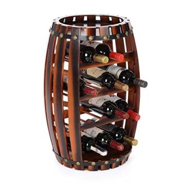 Christow Wooden Barrel Weinregal Free Standing 14 Flaschenhalter Eicheffekt - 2