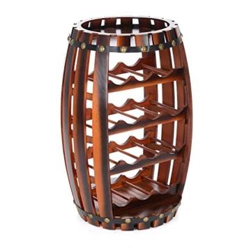 Christow Wooden Barrel Weinregal Free Standing 14 Flaschenhalter Eicheffekt - 3