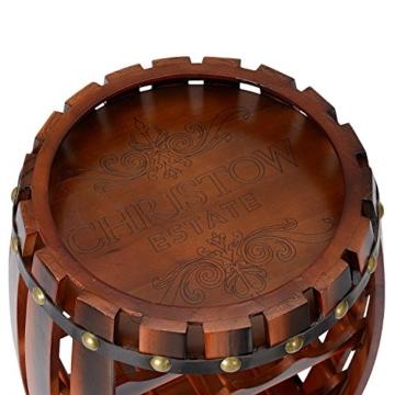Christow Wooden Barrel Weinregal Free Standing 14 Flaschenhalter Eicheffekt - 4