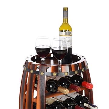 Christow Wooden Barrel Weinregal Free Standing 14 Flaschenhalter Eicheffekt - 5