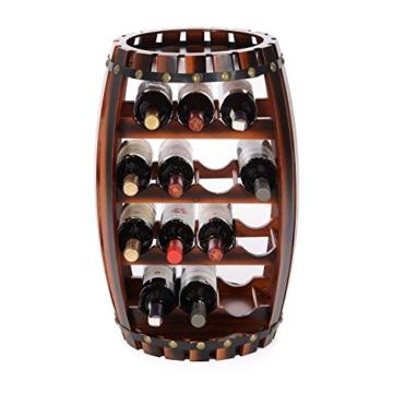 Christow Wooden Barrel Weinregal Free Standing 14 Flaschenhalter Eicheffekt - 6