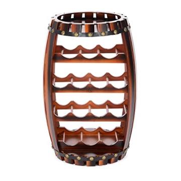 Christow Wooden Barrel Weinregal Free Standing 14 Flaschenhalter Eicheffekt - 7