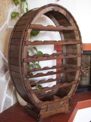 DanDiBo Weinregal aus Holz für 24 Flaschen Weinfass Braun gebeizt Bar Flaschenständer Fass Regal - 2