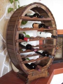 DanDiBo Weinregal aus Holz für 24 Flaschen Weinfass Braun gebeizt Bar Flaschenständer Fass Regal - 1
