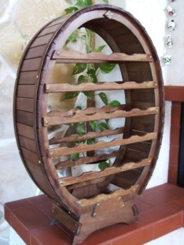 DanDiBo Weinregal aus Holz für 24 Flaschen Weinfass Braun gebeizt Bar Flaschenständer Fass Regal - 5
