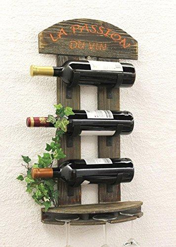DanDiBo Weinregal Wandregal 5091 aus Holz 60 cm Weinbar Bar Flaschenhalter Flaschenregal - 3