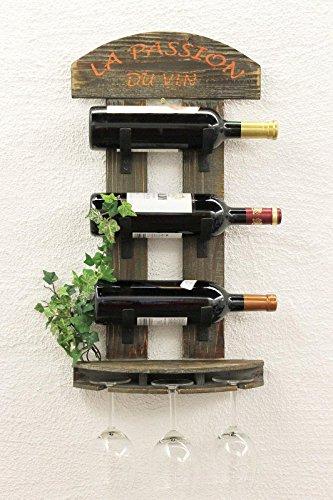 DanDiBo Weinregal Wandregal 5091 aus Holz 60 cm Weinbar Bar Flaschenhalter Flaschenregal - 5