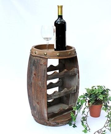 DanDiBo Weinregal Weinfass Holz Flaschenständer 1555 Bar 50 cm für 8 FL. Regal Fass Holzfass - 3