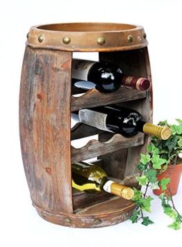 DanDiBo Weinregal Weinfass Holz Flaschenständer 1555 Bar 50 cm für 8 FL. Regal Fass Holzfass - 1