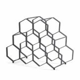 DESIGN DELIGHTS WEINREGAL WABE   Metall, 36x27x26 cm, 9 Flaschen, Schwarz   Weinflaschenhalter - 1