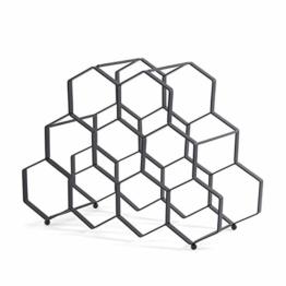 DESIGN DELIGHTS WEINREGAL WABE | Metall, 36x27x26 cm, 9 Flaschen, Schwarz | Weinflaschenhalter - 1