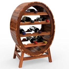 Deuba Weinregal aus Holz für 12 Flaschen Weinfass Design Höhe 90cm - Weinständer Flaschenregal Fass Flaschenständer Vintage - 1