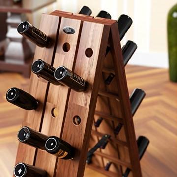 Deuba Weinregal aus Holz für 36 Flaschen Rüttelbrett Design Höhe 87cm, klappbar - Flaschenregal Flaschenständer Weinständer Weinflaschenhalter Rüttelpult - 2