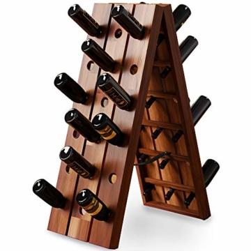 Deuba Weinregal aus Holz für 36 Flaschen Rüttelbrett Design Höhe 87cm, klappbar - Flaschenregal Flaschenständer Weinständer Weinflaschenhalter Rüttelpult - 1