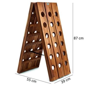 Deuba Weinregal aus Holz für 36 Flaschen Rüttelbrett Design Höhe 87cm, klappbar - Flaschenregal Flaschenständer Weinständer Weinflaschenhalter Rüttelpult - 6