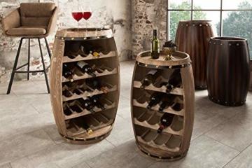 DuNord Design Weinregal Fass Regal Holz 14 Flaschen 60cm Flaschenregal Natur Tannenholz Massiv - 6