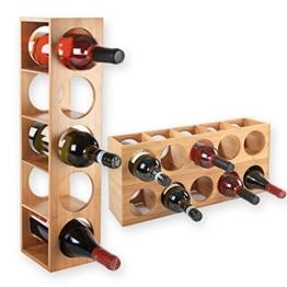 Gräfenstayn® Weinregal CUBE - stapelbar aus Bambus-Holz für 5 Wein-Flaschen zum Stellen, Legen oder zur Wand-Montage, erweiterbar, Größe 13,5x12x53 cm (LxBxH) Weinflaschenhalter Weinkiste Flaschenregal - 1