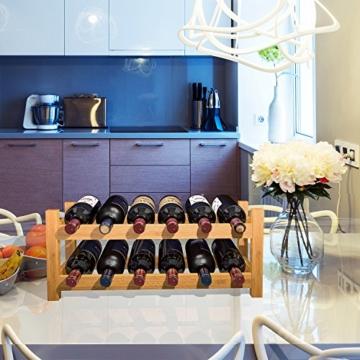 HOMFA Bambus Weinregal Flaschenregal für 12 Flaschen Weinhalter Weinständer Flaschenständer Weinflaschenhalter 60x24x25CM - 2