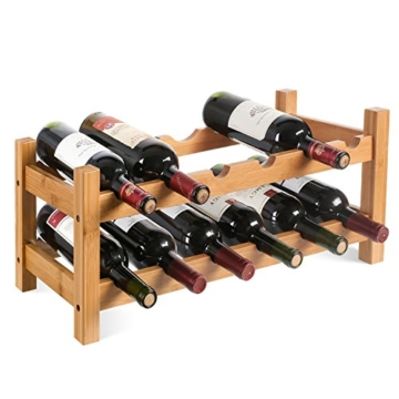 HOMFA Bambus Weinregal Flaschenregal für 12 Flaschen Weinhalter Weinständer Flaschenständer Weinflaschenhalter 60x24x25CM - 1