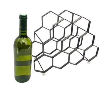 Kitchenista 9 Flaschen Weinregal Ständer - freistehender Weinflaschenhalter - Zeitgenössisches einzigartiges Design Keine Montage erforderlich - 3