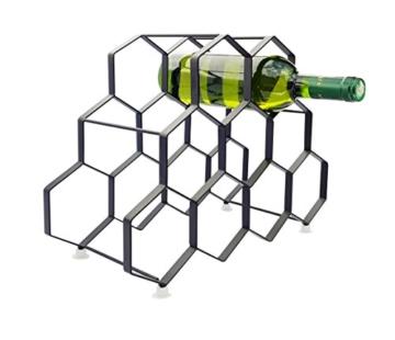 Kitchenista 9 Flaschen Weinregal Ständer - freistehender Weinflaschenhalter - Zeitgenössisches einzigartiges Design Keine Montage erforderlich - 4