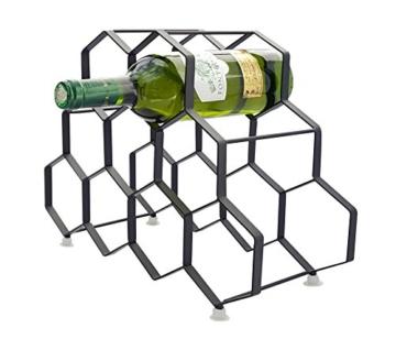 Kitchenista 9 Flaschen Weinregal Ständer - freistehender Weinflaschenhalter - Zeitgenössisches einzigartiges Design Keine Montage erforderlich - 6
