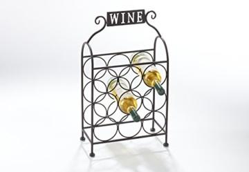 Kobolo Flaschenregal Flaschenhalter Weinflaschenregal Weinregal aus Metall Antik Braun - 3