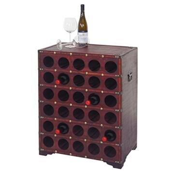 Mendler Weinregal Calvados, Flaschenregal Regal Holzregal für 30 Flaschen, Kolonialstil 80x61x40cm - 2