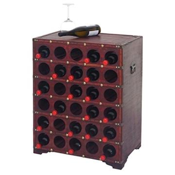 Mendler Weinregal Calvados, Flaschenregal Regal Holzregal für 30 Flaschen, Kolonialstil 80x61x40cm - 3