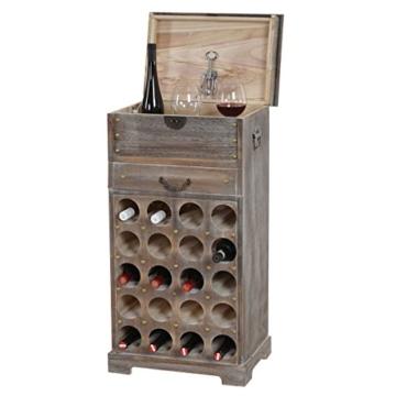 Mendler Weinregal Lucan T323, Flaschenregal Regal für 20 Flaschen, 94x48x31cm, Shabby-Look, Vintage ~ braun - 2