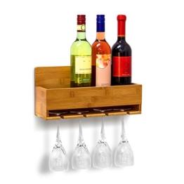 Relaxdays Weinregal mit Glashalter H x B x T: ca. 17 x 37 x 11,5 cm Flaschenregal aus Bambus mit Platz für 4 Flaschen und 4 Gläser zur Wandmontage Hängeregal Holz als Weinflaschenhalter Ablage, natur - 1
