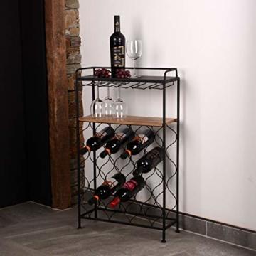 RM Design Weinregal/Weinflaschenhalter aus Metall in schwarz mit Glashalter für 18 Flaschen - 2