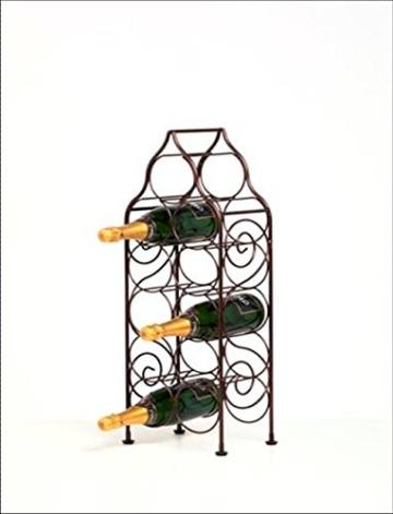 Sloane & Ebury Piedmont Weinregal, Eisen, groß, für 11 Weinflaschen, antikes Bronze-Design - 3