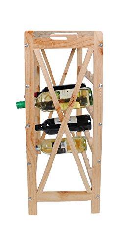 ts-ideen Massivholz Weinregal für 24 Flaschen Flaschenregal Weinboard Getränkeregal Flaschenhalter Walnuss Holz - 2