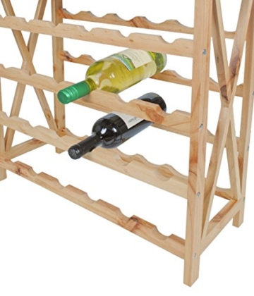 ts-ideen Massivholz Weinregal für 24 Flaschen Flaschenregal Weinboard Getränkeregal Flaschenhalter Walnuss Holz - 3