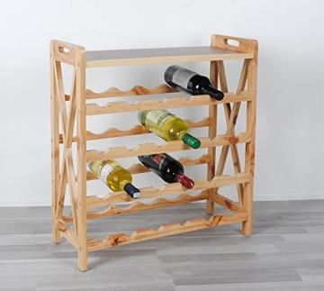 ts-ideen Massivholz Weinregal für 24 Flaschen Flaschenregal Weinboard Getränkeregal Flaschenhalter Walnuss Holz - 6