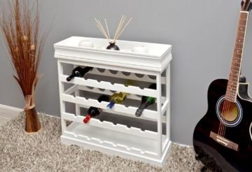 ts-ideen Weinregal weiß für 24 Flaschen Flaschenregal weißes Holz Regal Weinablage Board - 2