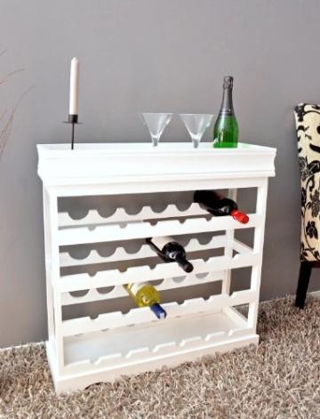 ts-ideen Weinregal weiß für 24 Flaschen Flaschenregal weißes Holz Regal Weinablage Board - 3