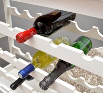 ts-ideen Weinregal weiß für 24 Flaschen Flaschenregal weißes Holz Regal Weinablage Board - 5