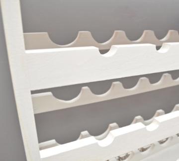 ts-ideen Weinregal weiß für 24 Flaschen Flaschenregal weißes Holz Regal Weinablage Board - 6