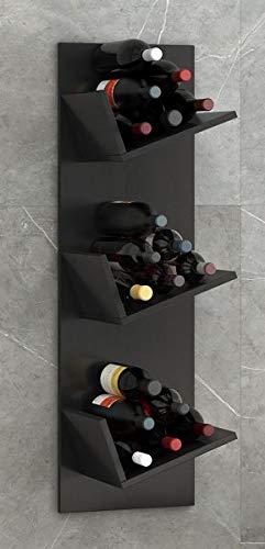 """VCM Regal Weinregal Wandregal Hängeregal Wein Regal Flaschenregal Holz Schwarz 106 x 33 x 26 cm """"Vinosi"""" - 1"""