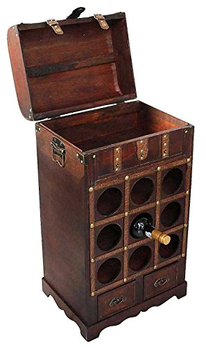 Weinregal Flaschenregal Wein Flasche Regal Antik-Stil Holz Weintruhe Weinschrank - 3