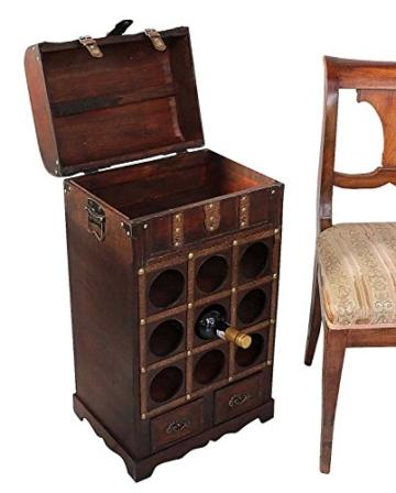 Weinregal Flaschenregal Wein Flasche Regal Antik-Stil Holz Weintruhe Weinschrank - 4