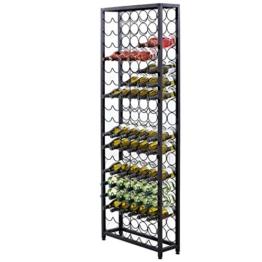 Weinregal für bis zu 108 Flaschen Wein Metall Schwarz ca. B65 x T24 x H189 cm - 1